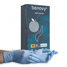 Перчатки нитриловые «Benovy» небесно-голубые