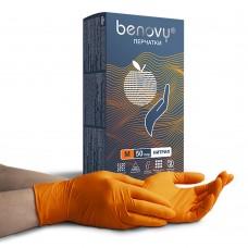 Перчатки нитриловые «Benovy» оранжевые