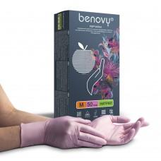 Перчатки нитриловые «Benovy» розовый перламутр