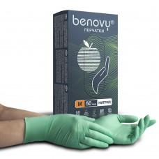 Перчатки нитриловые «Benovy» зеленые