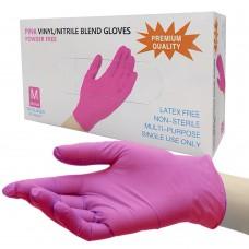 Перчатки нитровиниловые розовые Wally 50 пар