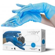 Перчатки из ТПЭ «Benovy» голубые 100 пар